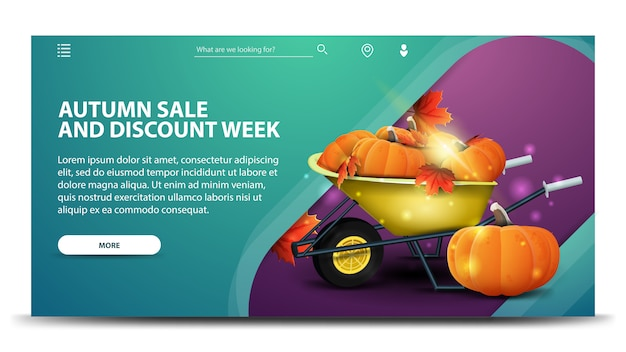 Herfst verkoop en korting week, moderne groene webbanner Premium Vector