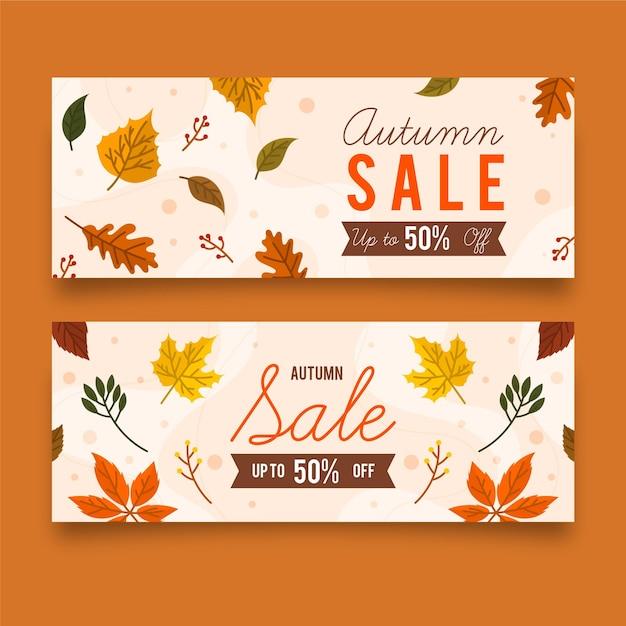 Herfst verkoop korting banners Gratis Vector