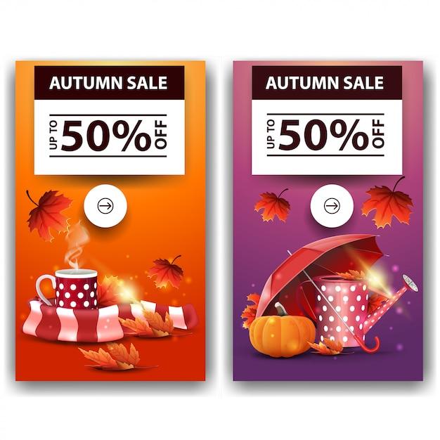 Herfst verkoop, korting banners Premium Vector