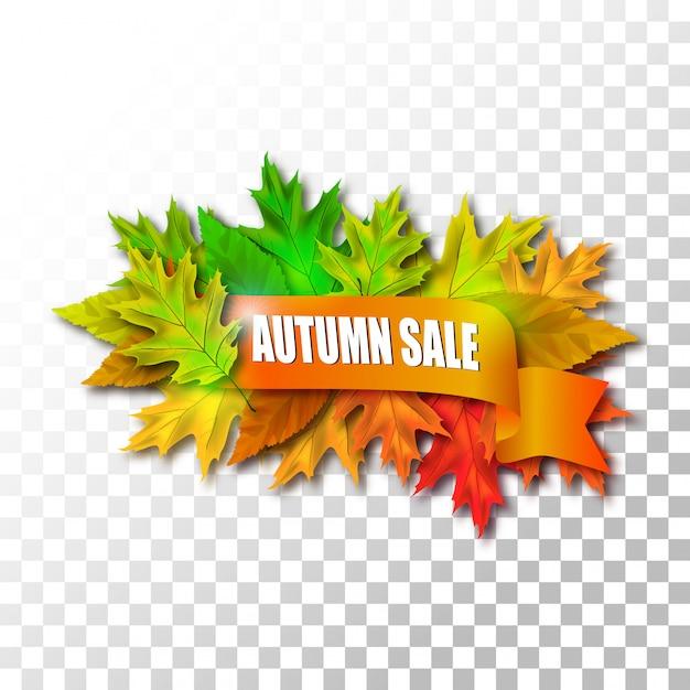 Herfst verkoop laat op transparante achtergrond Premium Vector