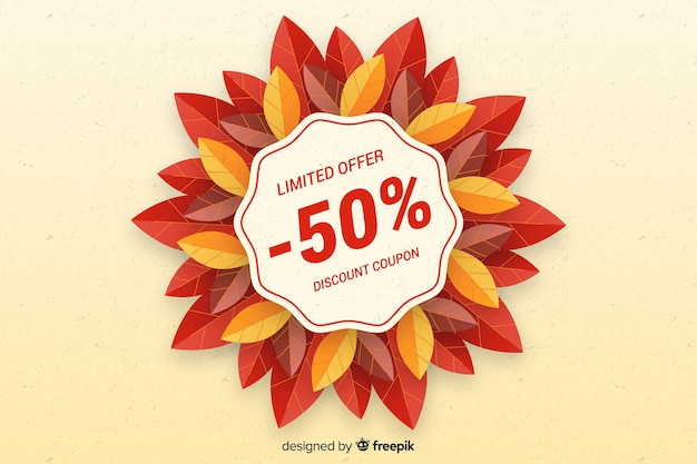 Herfst verkoop plat ontwerp als achtergrond Gratis Vector