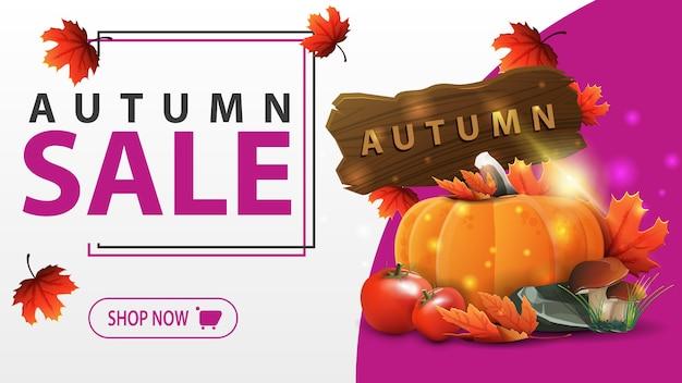 Herfst verkoop sjabloon voor spandoek Premium Vector