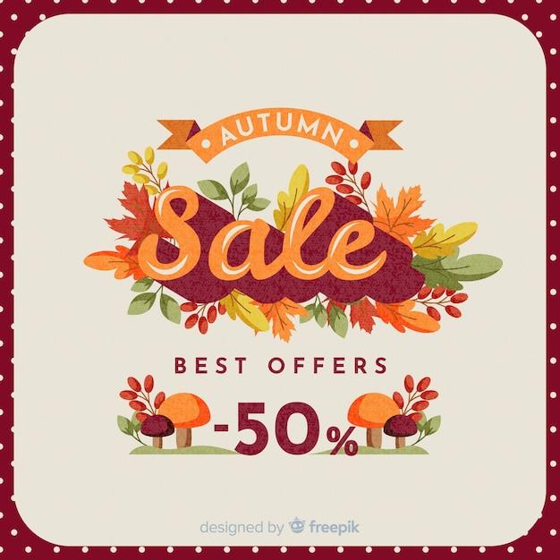 Herfst verkoop vintage achtergrondontwerp Gratis Vector