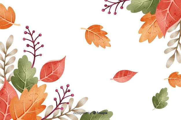 Herfstbladeren achtergrond aquarel stijl Gratis Vector