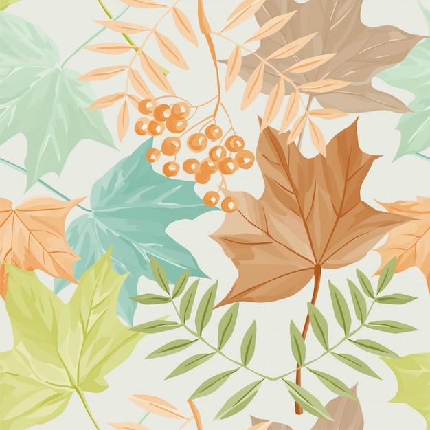 Herfstbladeren en rowan patroon Premium Vector