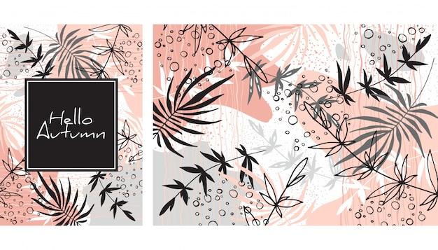 Herfstbladeren kaart Premium Vector