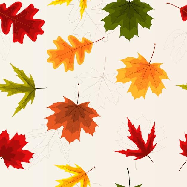 Herfstbladeren naadloos patroon Premium Vector