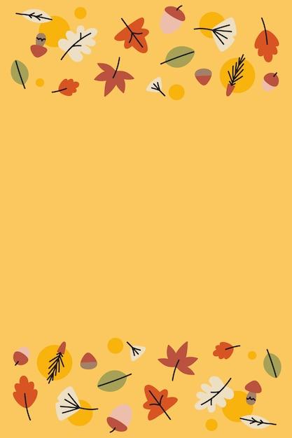 Herfstbladeren op geel Gratis Vector