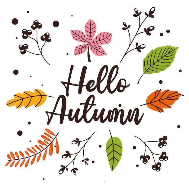 Herfstbladeren vallende cartoon Premium Vector