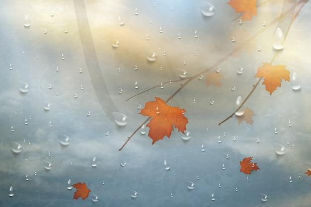 Herfstbladeren voor het regenachtige glas. Premium Vector