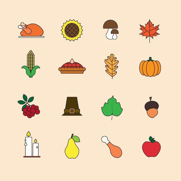 Herfstelement stel thanksgiving day autumn traditional harvest concept Premium Vector