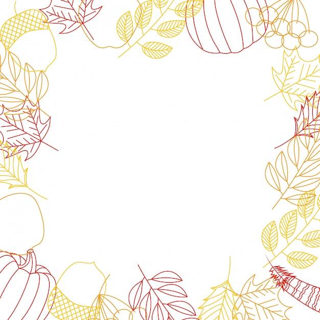 Herfstkaderachtergrond met bladeren en pompoenen Gratis Vector