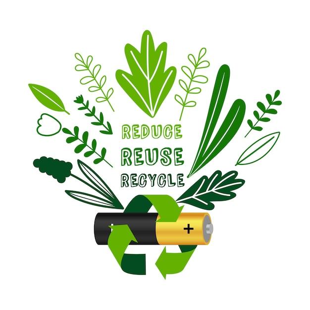 Hergebruik van batterijen. elektronische apparatuur vermindert hergebruik recycle concept, gerecycleerde batterijen elektronica afval of e-waste poster vectorillustratie Premium Vector