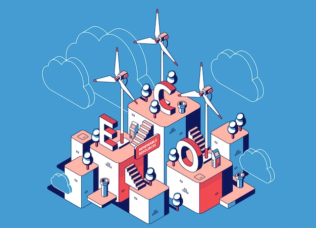 Hernieuwbare bronnen, eco-krachtcentrale met windmolenturbines, alternatieve schone energie Gratis Vector