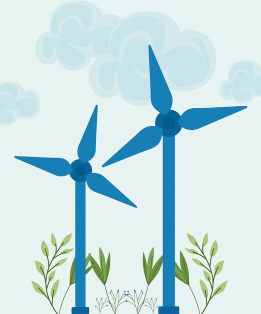 Hernieuwbare energie turbine Premium Vector