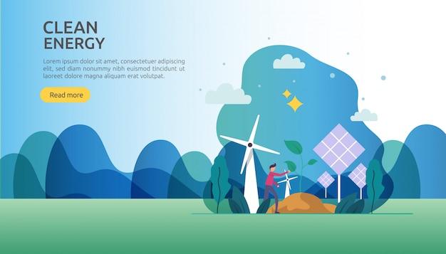 Hernieuwbare groene elektrische energiebronnen en schoon milieuconcept Premium Vector