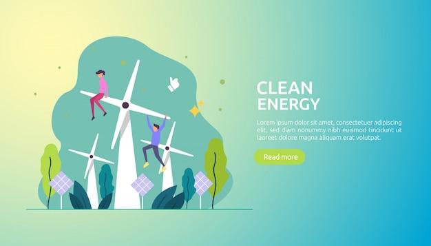 Hernieuwbare groene stroombronnen en schone omgeving Premium Vector