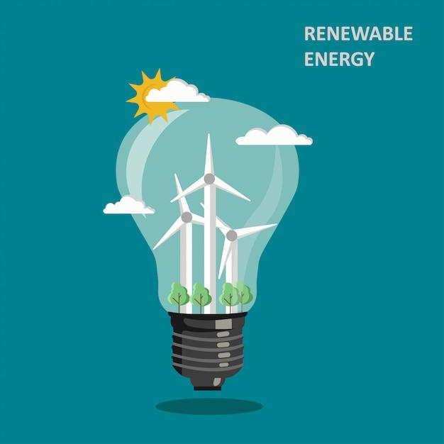 Hernieuwbare windenergie illustratie Premium Vector