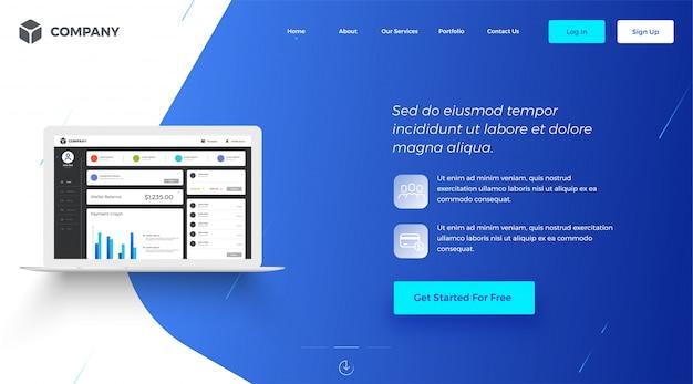 Hero banner afbeelding voor websites of apps. Premium Vector
