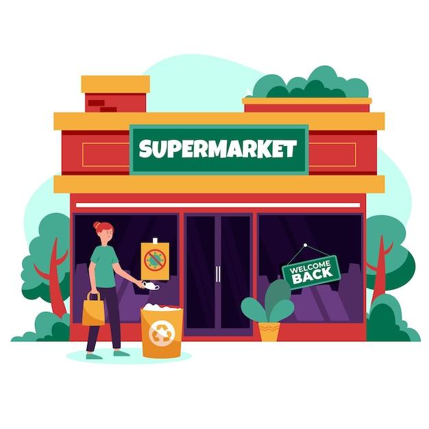 Heropen economie na coronavirus supermarkt Gratis Vector