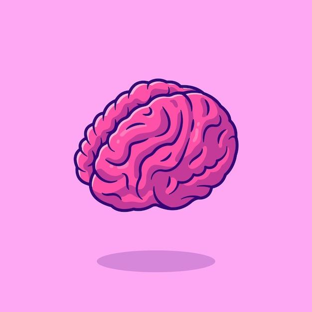 Hersenen cartoon pictogram illustratie. onderwijs object icon concept. Gratis Vector