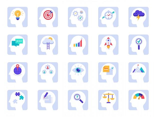 Hersenen denkproces pictogrammen. business idee, succes oplossing in zakenman hoofd en menselijke hersenen psychologie icon set Premium Vector