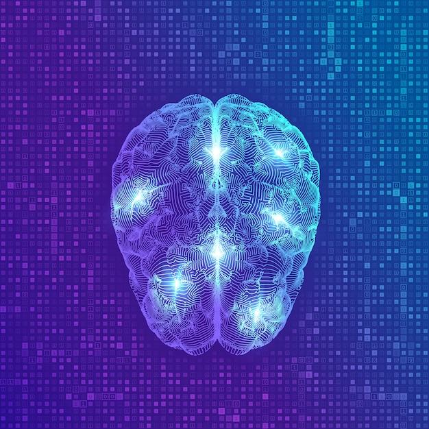 Hersenen. digitaal brein op streaming matrix digitale binaire code achtergrond Premium Vector