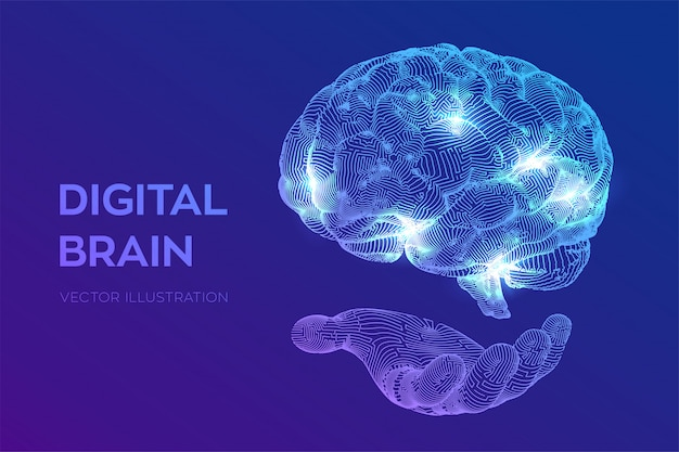 Hersenen. digitale hersenen in de hand. neuraal netwerk. Gratis Vector