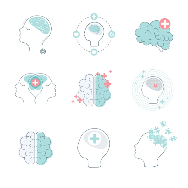 Hersenen en geestelijke gezondheid iconen vector set Gratis Vector