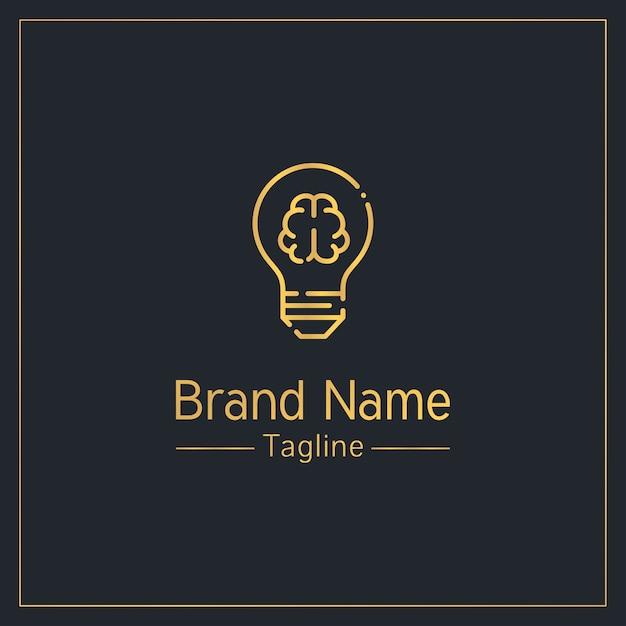 Hersenen en gloeilamp moderne gouden logo sjabloon Premium Vector