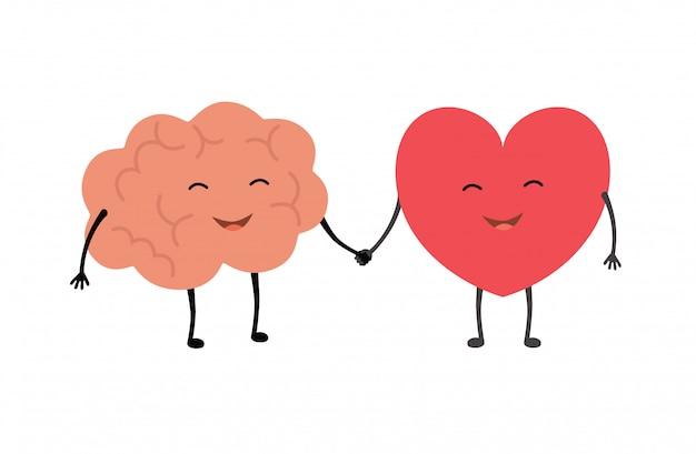 Hersenen en hart handdruk. Premium Vector