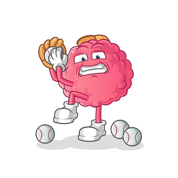 Hersenen honkbal werper cartoon. cartoon mascotte Premium Vector