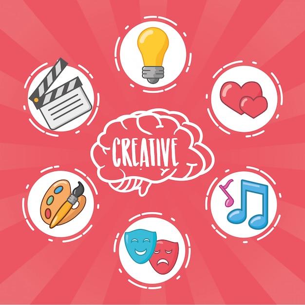 Hersenen idee creativiteit Gratis Vector