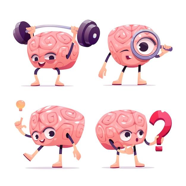 Hersenen karakters, cartoon mascotte met grappig gezicht Gratis Vector
