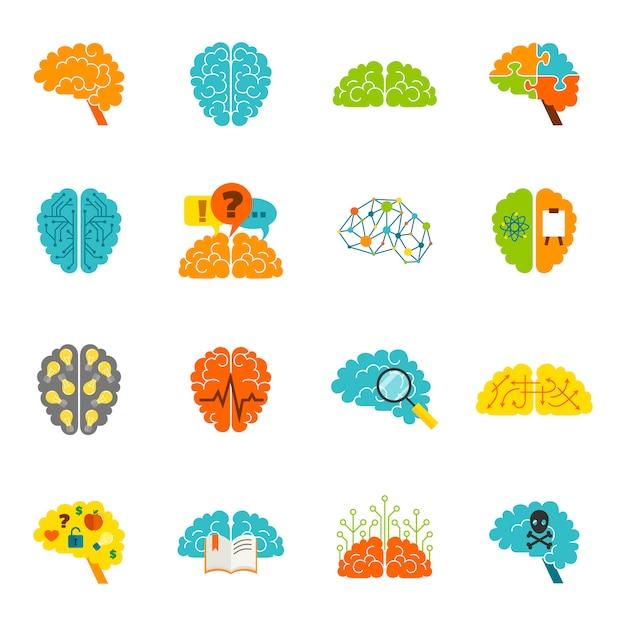 Hersenen pictogrammen plat Gratis Vector