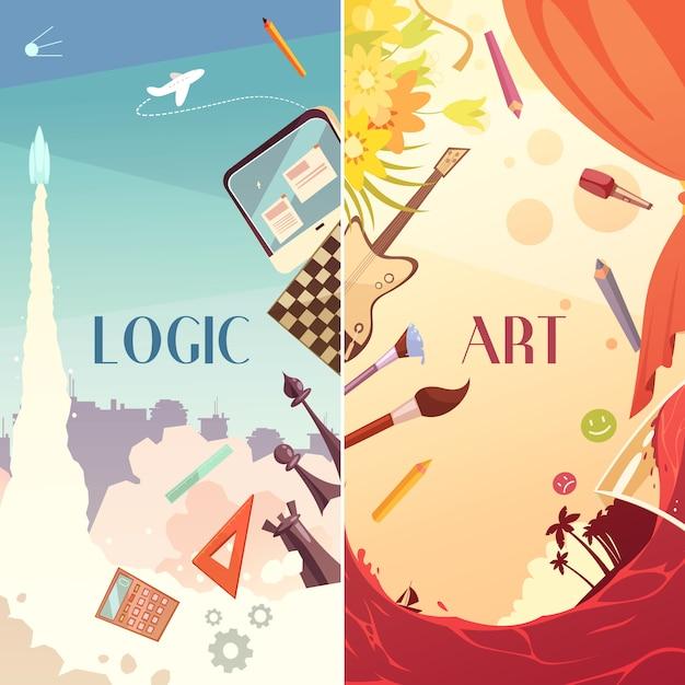 Hersenen rechts links hemisferen cartoon banners Gratis Vector