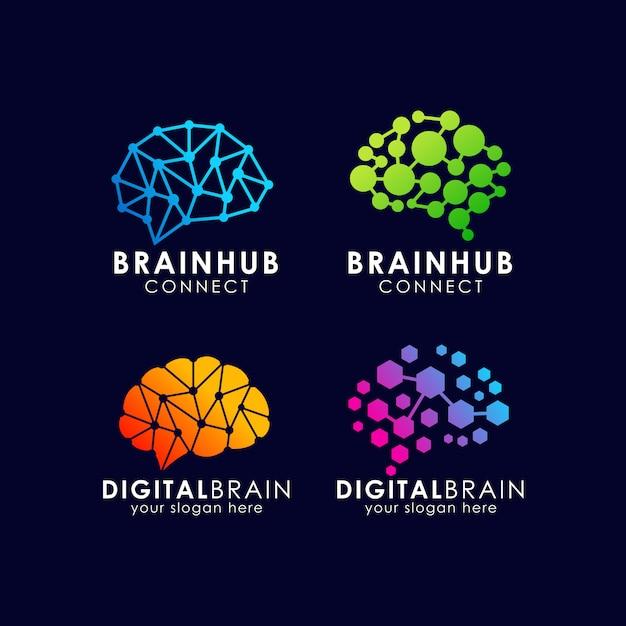 Hersenen verbinding logo ontwerp. digitale hersenen logo sjabloon Premium Vector