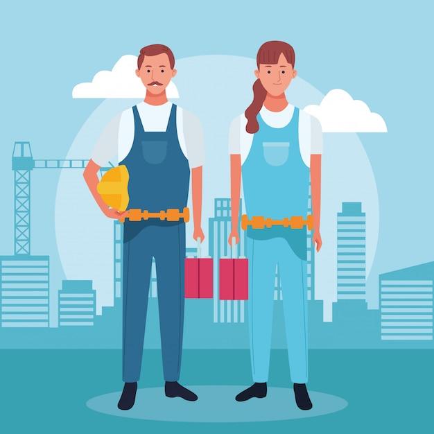 Herstel man en vrouw die zich over stedelijke stadsgebouwen bevinden Premium Vector
