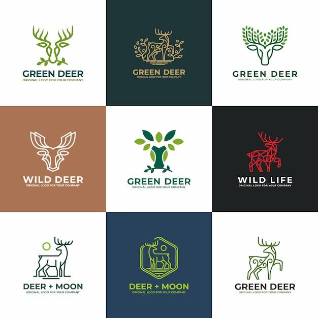 Herten, antilope logo design collectie. Premium Vector
