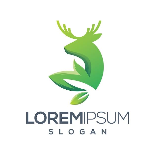 Herten blad kleurverloop logo ontwerp Premium Vector