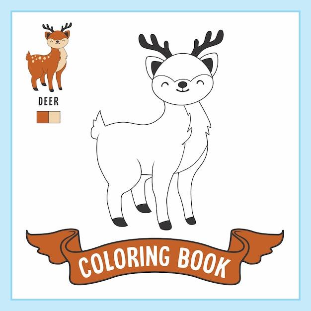 Herten dieren kleurplaten boek werkblad Premium Vector