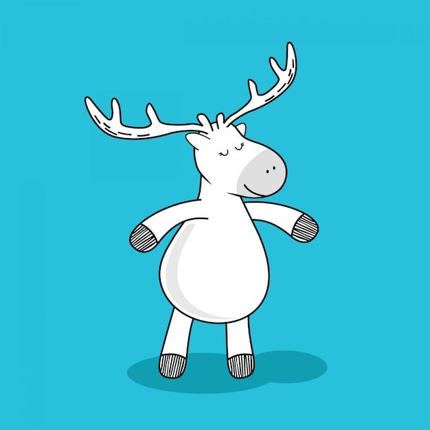 Herten doodle cartoon. Premium Vector