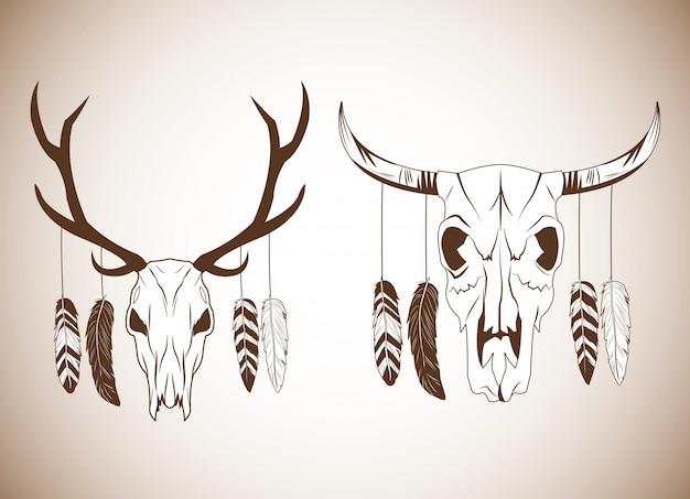 Herten en stier schedel pictogram Premium Vector