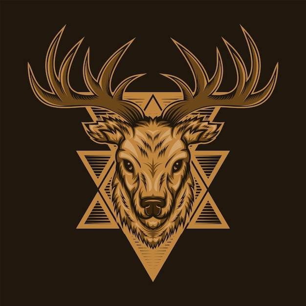 Herten hoofd badge vectorillustratie Premium Vector