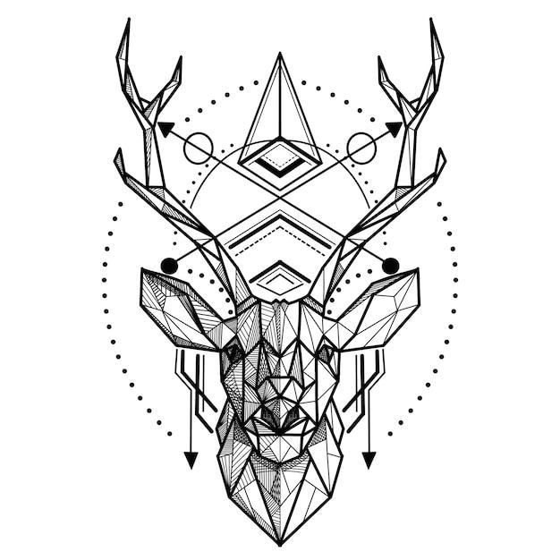 Herten laag poly. abstracte veelhoekige het hoofd van een hert. geometrisch lineair dier Premium Vector
