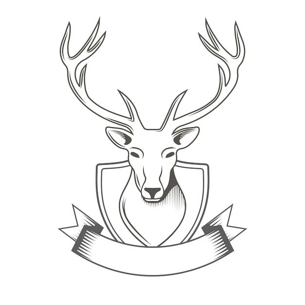 Herten met lintembleem dat op wit voor jagersclub wordt geïsoleerd Premium Vector