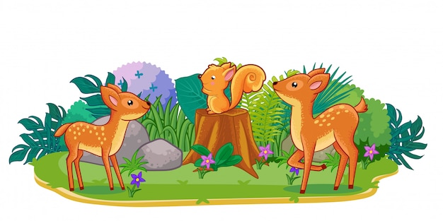 Herten spelen samen in de tuin Premium Vector