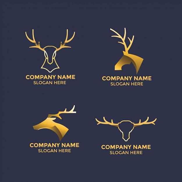 Hertengeweien illustratie ontwerp voor logo en mascotte sjabloon Premium Vector