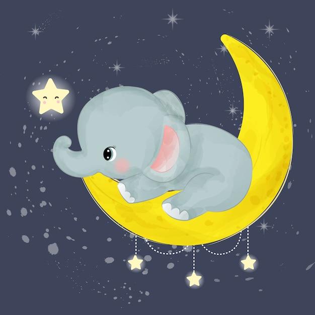 Het aanbiddelijke babyolifant spelen met maan en sterren Premium Vector