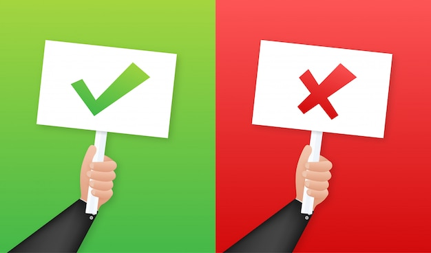 Het aanplakbiljet van de handholding ja en geen illustratie. Premium Vector